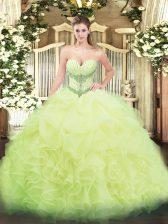 Spectacular Ball Gowns Vestidos de Quinceanera Yellow Green Sweetheart Organza Sleeveless Floor Length Lace Up
