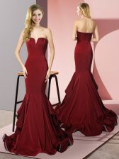 Chic Burgundy Mermaid Elastic Woven Satin V-neck Sleeveless Ruffles Side Zipper Prom Party Dress Sweep Train
