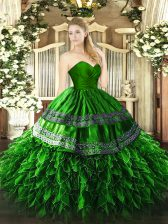 Vintage Green Zipper Vestidos de Quinceanera Embroidery and Ruffles Sleeveless Floor Length