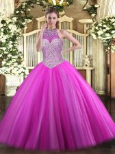 Fuchsia Halter Top Neckline Beading Quinceanera Dresses Sleeveless Lace Up