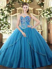 Blue Sweet 16 Dresses Sweetheart Sleeveless Brush Train Lace Up