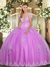 Artistic Floor Length Ball Gowns Sleeveless Lilac Quince Ball Gowns Lace Up
