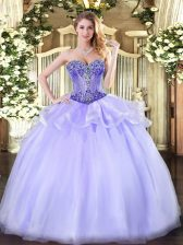 Simple Lavender Sweetheart Lace Up Beading Sweet 16 Dress Sleeveless