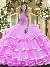 Lilac Sleeveless Organza Lace Up Vestidos de Quinceanera for Military Ball and Sweet 16 and Quinceanera