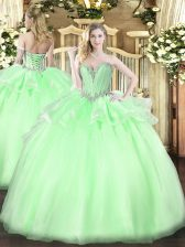 Sweetheart Sleeveless Lace Up 15th Birthday Dress Apple Green Organza