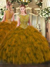 Custom Designed Ball Gowns Quince Ball Gowns Brown Scoop Organza Sleeveless Floor Length Zipper