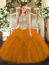 Designer Orange Red Scoop Lace Up Beading and Ruffles Quinceanera Gowns Sleeveless