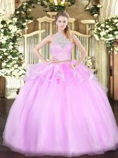 New Arrival Lace Quince Ball Gowns Lilac Lace Up Sleeveless Floor Length
