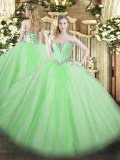Simple Quince Ball Gowns Military Ball and Sweet 16 and Quinceanera with Beading Sweetheart Sleeveless Lace Up
