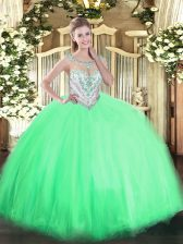 Beading 15th Birthday Dress Apple Green Zipper Sleeveless Floor Length