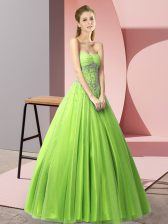 Hot Sale A-line Sweetheart Sleeveless Tulle Floor Length Lace Up Beading Evening Dress
