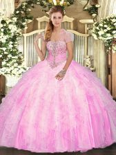 Custom Fit Rose Pink Ball Gowns Appliques and Ruffles Quinceanera Gown Lace Up Tulle Sleeveless Floor Length