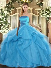 New Arrival Floor Length Ball Gowns Sleeveless Baby Blue Quinceanera Dresses Lace Up