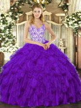 Floor Length Purple Quinceanera Dresses Straps Sleeveless Lace Up