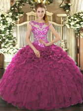 Fuchsia Ball Gowns Scoop Cap Sleeves Organza Floor Length Lace Up Beading and Appliques and Ruffles Quinceanera Dress