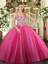 Dramatic Floor Length Hot Pink 15th Birthday Dress Straps Sleeveless Lace Up