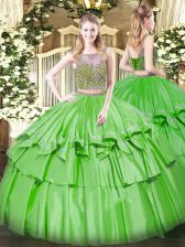 Smart Scoop Lace Up Beading and Ruffled Layers Quinceanera Dresses Sleeveless