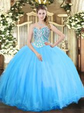 Aqua Blue Tulle Lace Up Sweetheart Sleeveless Floor Length Quince Ball Gowns Beading