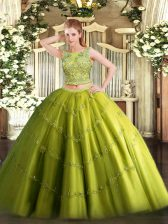 Fashion Olive Green Sweet 16 Dress Military Ball and Sweet 16 and Quinceanera with Beading and Appliques Scoop Sleeveless Lace Up