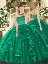 Tulle Sleeveless Floor Length Sweet 16 Quinceanera Dress and Ruffles