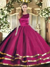 Fantastic Fuchsia Ball Gowns Tulle Scoop Sleeveless Ruffled Layers Floor Length Lace Up 15 Quinceanera Dress
