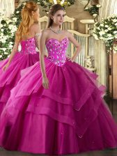 Wonderful Fuchsia Sweetheart Neckline Embroidery and Ruffled Layers Quinceanera Dresses Sleeveless Lace Up