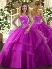Fuchsia Lace Up Strapless Beading and Ruffled Layers 15th Birthday Dress Tulle Sleeveless