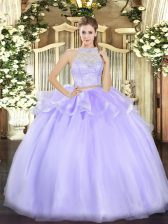 Great Sleeveless Floor Length Lace Zipper Sweet 16 Dresses with Lavender