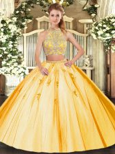 Gold Two Pieces Halter Top Sleeveless Tulle Floor Length Criss Cross Beading and Appliques Quinceanera Gowns