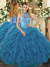 Fashionable Teal Halter Top Lace Up Embroidery and Ruffles Sweet 16 Dresses Sleeveless