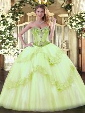 Sleeveless Beading Lace Up 15 Quinceanera Dress with Yellow Green