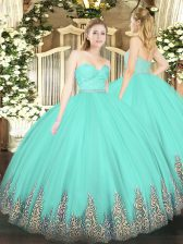 Pretty Sleeveless Tulle Floor Length Zipper Vestidos de Quinceanera in Apple Green with Beading and Lace and Appliques