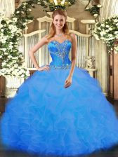 Captivating Organza Sweetheart Sleeveless Lace Up Beading and Ruffles 15th Birthday Dress in Blue