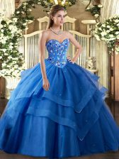 Shining Blue Ball Gowns Tulle Sweetheart Sleeveless Embroidery and Ruffled Layers Floor Length Lace Up 15 Quinceanera Dress