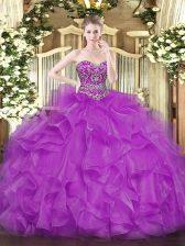 Customized Fuchsia Sweetheart Neckline Beading and Ruffles Quinceanera Dresses Sleeveless Lace Up