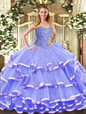 Flirting Lavender Lace Up 15 Quinceanera Dress Beading and Ruffled Layers Sleeveless Floor Length