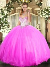 Rose Pink Tulle Lace Up 15th Birthday Dress Sleeveless Floor Length Beading