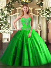 Hot Sale Ball Gowns Sweetheart Sleeveless Tulle Floor Length Lace Up Beading 15 Quinceanera Dress