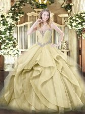 Yellow Tulle Lace Up Sweetheart Sleeveless Floor Length Sweet 16 Dress Beading and Ruffles