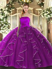 Strapless Sleeveless Sweet 16 Quinceanera Dress Floor Length Ruffles Purple Tulle