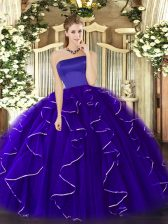 Admirable Ball Gowns 15 Quinceanera Dress Blue Strapless Tulle Sleeveless Floor Length Zipper