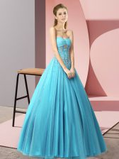 Lovely Sleeveless Floor Length Beading Lace Up Homecoming Dress with Baby Blue