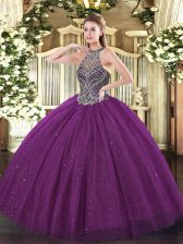 Fancy Halter Top Sleeveless Lace Up Sweet 16 Dress Eggplant Purple Tulle