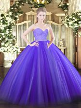 Inexpensive Lavender Ball Gowns Beading and Lace 15 Quinceanera Dress Zipper Tulle Sleeveless Floor Length