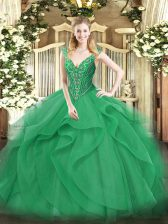 Fashion Floor Length Turquoise Quinceanera Dresses V-neck Sleeveless Lace Up