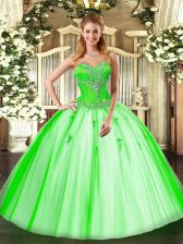 Tulle Sweetheart Sleeveless Lace Up Beading Sweet 16 Dresses in
