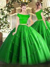 Top Selling Green Short Sleeves Appliques Floor Length Vestidos de Quinceanera