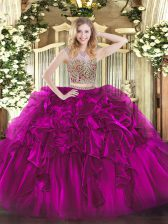 Fuchsia Two Pieces Scoop Sleeveless Organza Floor Length Lace Up Beading and Ruffles Quinceanera Dress