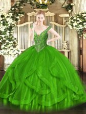 Ball Gowns Beading and Ruffles Ball Gown Prom Dress Lace Up Tulle Sleeveless Floor Length