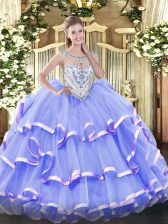 Lavender Organza Zipper Scoop Sleeveless Floor Length Ball Gown Prom Dress Beading and Ruffled Layers